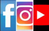 Facebook, Instagram, and YouTube logos